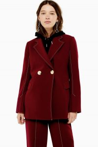 TOPSHOP Burgundy High Break Double Breasted Blazer – retro look jacket