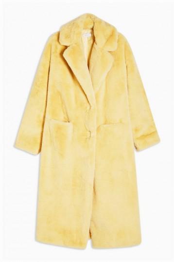 TOPSHOP Buttermilk Maxi Length Faux Fur Coat / luxe style winter coats