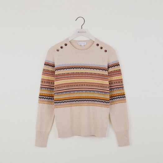 Warehouse BUTTON SHOULDER FAIRISLE JUMPER CREAM | patterned sweaters