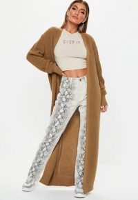 MISSGUIDED camel long maxi knitted cardigan ~ longline cardigans