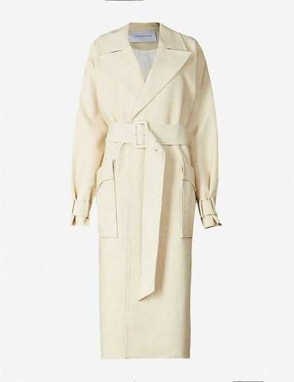 CAMILLA AND MARC Theo woven trench coat in light-beige | neutral autumn coats - flipped