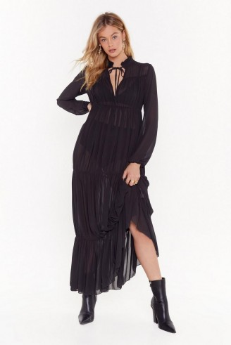 NASTY GAL Can't Tie Me Love Chiffon High-Neck Maxi Dress in Black