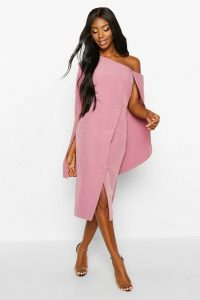 boohoo Cape Detail One Shoulder Cover Button Dress in rose – asymmetric occasion wear