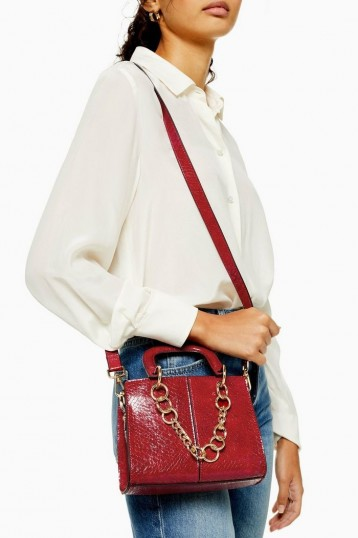 TOPSHOP CASE Red Mini Crocodile Cross Body Bag