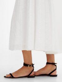 VALENTINO Chain-embellished wrap black velvet sandals – effortless poolside style