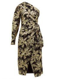 ALTUZARRA Chanda floral-brocade ruched one-shoulder dress ~ gathered waist event dresses