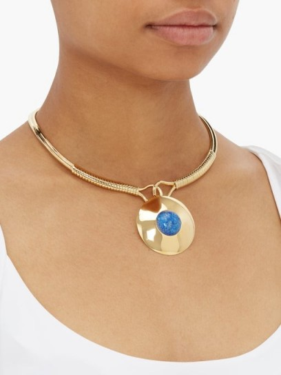 JOELLE KHARRAT Chapiteau gold-plated choker necklace | blue stone pendant chokers
