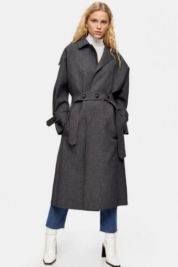 TOPSHOP Charcoal Grey Trench Coat – stylish belted coats - flipped