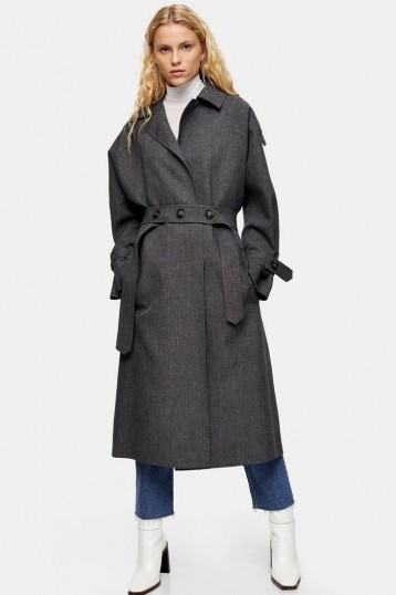 TOPSHOP Charcoal Grey Trench Coat – stylish belted coats