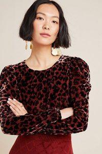 Dolan Left Coast Charley Velvet-Leopard Blouse in Raspberry / puff sleeved tops
