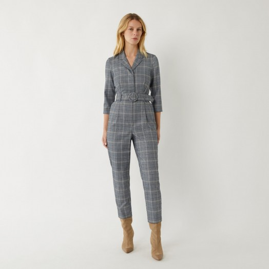 WAREHOUSE CHECK JUMPSUIT BLUE PATTERN