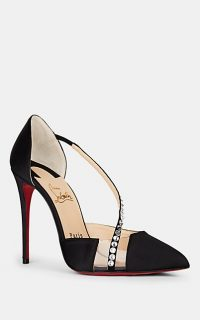 CHRISTIAN LOUBOUTIN Krystal Embellished Black Satin & PVC Pumps ~ luxe courts