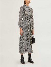 CLAUDIE PIERLOT Rigole mixed-print crepe midi dress