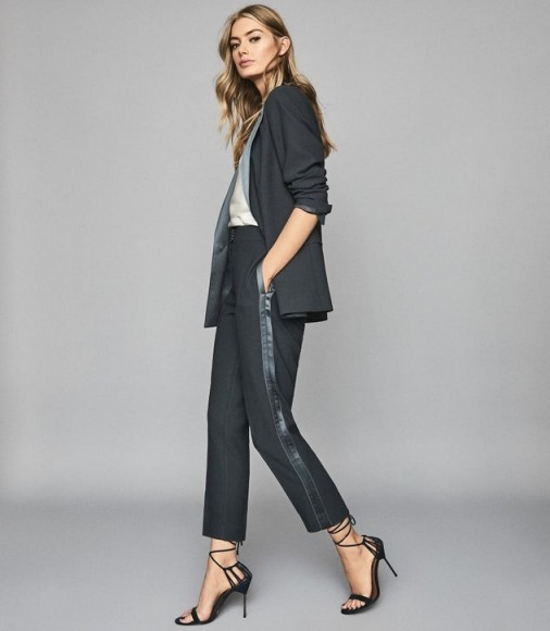 REISS CLEO TAILORED CREPE TROUSERS PETROL ~ chic pants