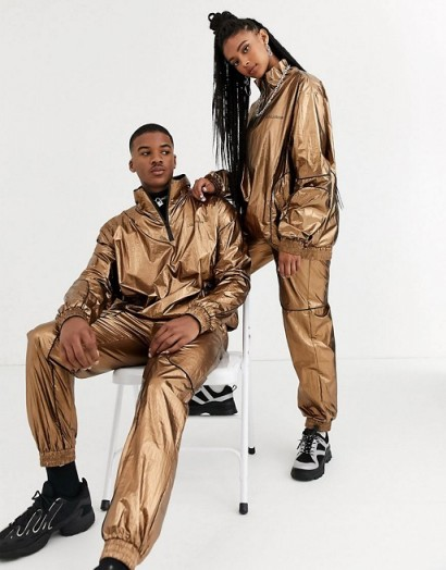 COLLUSION Unisex metallic jacket and jogger co-ord in copper