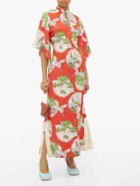 WILLIAM VINTAGE Crane-print kimono-style silk maxi dress in red / bird prints / mandarin collar kimonos