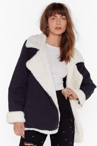NASTY GAL Crazy Fur You Denim Aviator Jacket in Black / black and white winter jackets