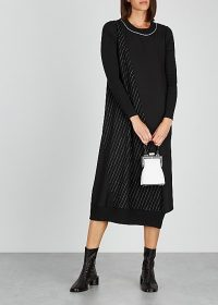 CREA CONCEPT Black pinstriped wool-blend midi dress