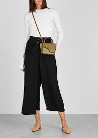 CREA CONCEPT Black wide-leg trousers ~ drape front overlay pants