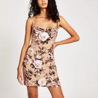 River Island Cream floral velvet cowl neck slip mini dress | strappy cross back cami dresses