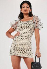 MISSGUIDED cream polka dot organza ruched mini dress / sheer sleeved dresses