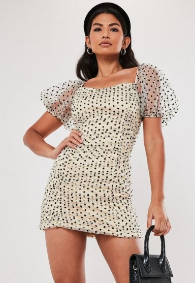 MISSGUIDED cream polka dot organza ruched mini dress / sheer sleeved dresses