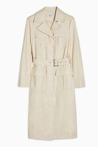 Topshop ream PU Utility Trench Coat in Cream | neutral belted mac | modern classic coats