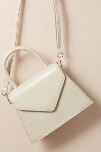 ANTHROPOLOGIE Croc-Effect Crossbody Bag in Cream / neutral top handle bags