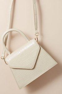 ANTHROPOLOGIE Croc-Effect Crossbody Bag in Cream / neutral top handle bags