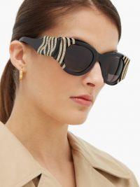 BALENCIAGA Crystal and chain-bead round acetate sunglasses in black ~ glamorous eyewear