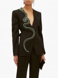 ANDREW GN Crystal-snake wool-blend blazer in black / women's statement evening jacket