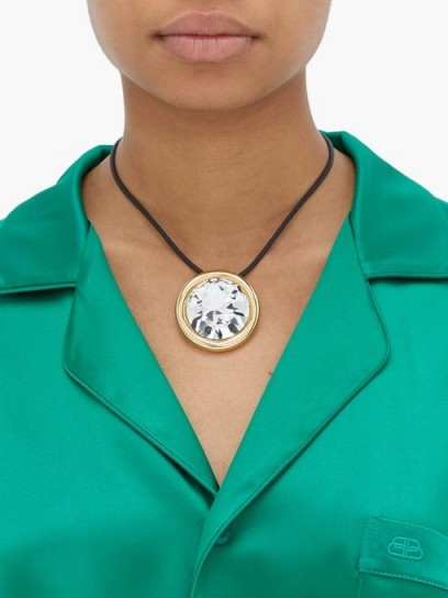 BALENCIAGA Dallas crystal-pendant necklace ~ large round pendants