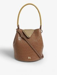 DANSE LENTE Josh XS leather bucket bag in oak