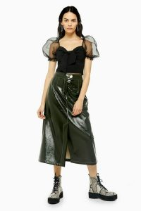 TOPSHOP Dark Green A-Line Vinyl Midi Skirt / high-shine skirts