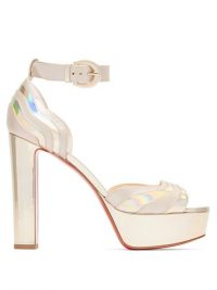 CHRISTIAN LOUBOUTIN Degratissimo 130 metallic leather platform sandals in silver ~ luxe event heels