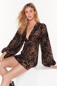 NASTY GAL devere leopard shift dress in Brown