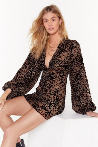 NASTY GAL devere leopard shift dress in Brown