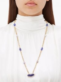 JADE JAGGER Diamond, tanzanite, pearl & 18kt gold necklace / long luxe pendant necklaces / blue stone pendants