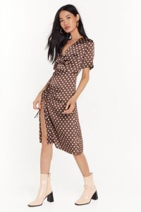 NASTY GAL Dot Happy For You Satin Midi Dress in Brown