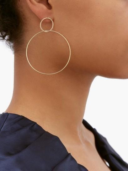LEANA MAKRI Double Slim diamond & 18kt gold hoop earrings / delicate statement hoops