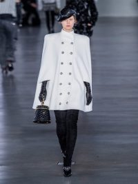 BALMAIN Double-breasted wool-blend cape in white ~ designer outerwear