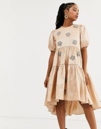 Dream Sister Jane tiered midaxi dress with puff sleeves and embellished flowers in taffeta in peach shimmer