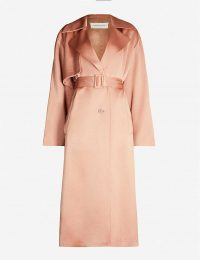 DRIES VAN NOTEN Belted satin trench coat in blush ~ luxe coats