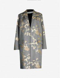 DRIES VAN NOTEN Metallic floral-embroidered jacquard coat in grey