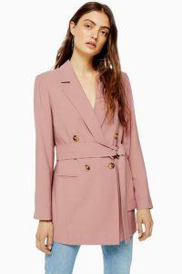 TOPSHOP Dusty Pink Belted Twill Blazer – tie waist jacket