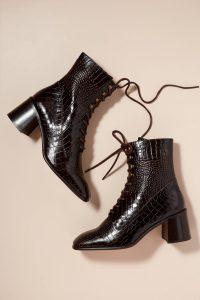 E8 Miista Emma Heeled Boots in Chocolate / croc effect leather footwear