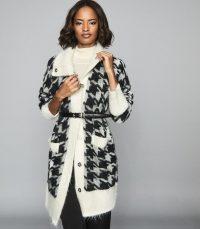 REISS ELENI DOGTOOTH CHECKED CARDIGAN BLACK/ WHITE ~ monochrome longline cardigans
