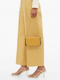 LUTZ MORRIS Elise yellow crocodile-effect leather shoulder bag – chic little handbag