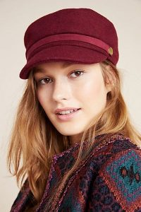 ANTHROPOLOGIE Elle Engineer Cap in Wine / dark-red peaked hat / Autumn hats / caps