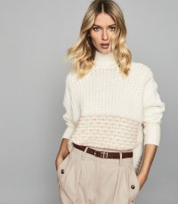 Reiss EMMA CHUNKY RIBBED JUMPER NEUTRAL | high neck sweater